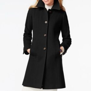 Anne Klein M Cashmere Blend Dress Coat Black
